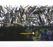 LA CELEBRACIÓN<br /> Inkjet- lápiz color y aguafuerte-plegado<br /> 60 x 180 cm<br /> 2013