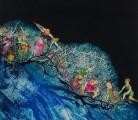 ANIMAS AMIGAS<br /> Aguafuerte aguatinta - Iluminado a mano<br /> 108 x 70 cm <br /> 2002