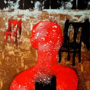 EN NINGUN LUGAR, AHORA Y AQUÍ, Aguafuerte aguatinta, 118x80cm, 2009