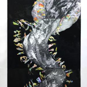 FUERA DEL EDEN, Colección Peschiera- Lima-Perú,   Aguafuerte iluminado a mano - Tríptico, 240x120cm, 2002/2019