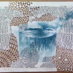 ALLÍ AFUERA, Litografía-Calado a mano, 96 x106cm,  2020