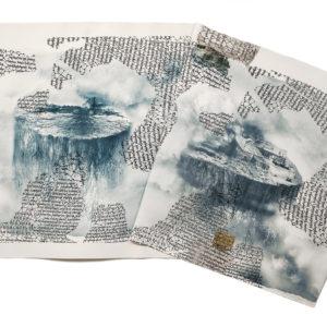 LA PATRIA DEL EXILIO, Fotolotigrafia, 3 planchas-oro a la hoja sobre caucho procesado, 90x170cm, 2019